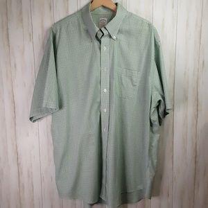 Brooks Brothers Green Blue Plaid Shirt S/S XL